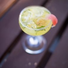 Kiro Rancher: Fresh Yellow Watermelon Juice, Nigori Saki, Muddled Shiso, Shochu + Yuzu